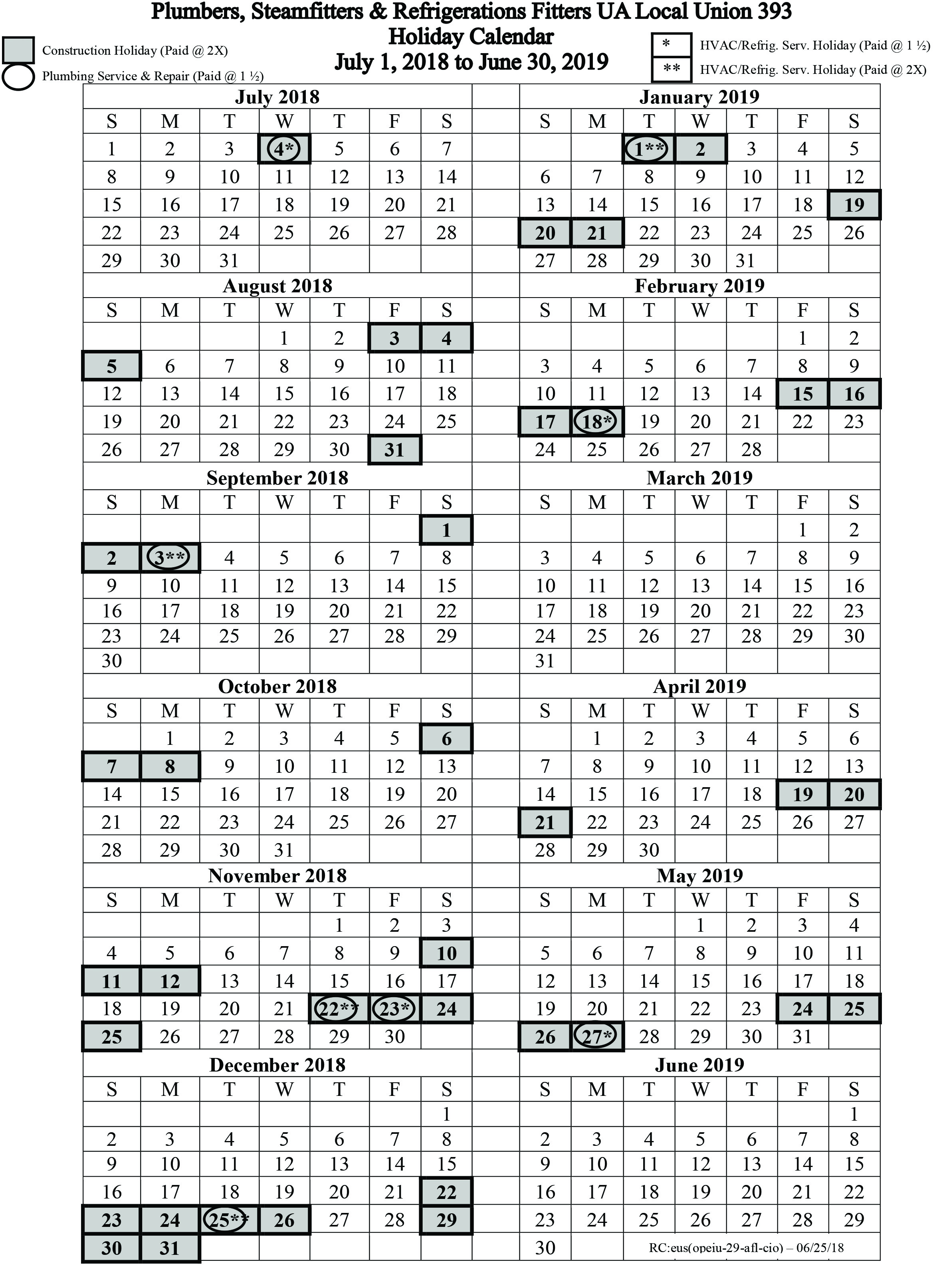 July 1 2018 June 30 2019 Holiday Calendar Local 393