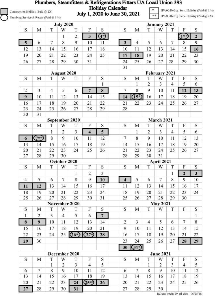 July 1, 2018 – June 30, 2021 Holiday Calendar | Local 393